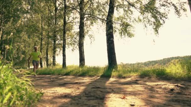 Zpomalený záběr atletické Runner klopýtal a kroucení kotníku na lesní cestě při běhu