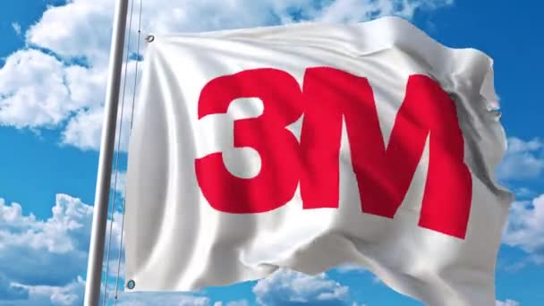 Waving flag with 3M Company logo. 4K editorial animation