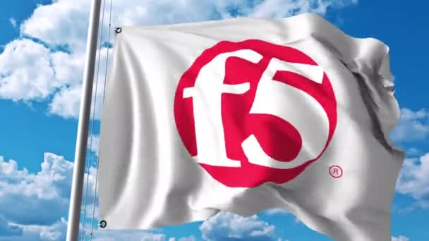 Waving flag with F5 Networks logo. 4K editorial animation