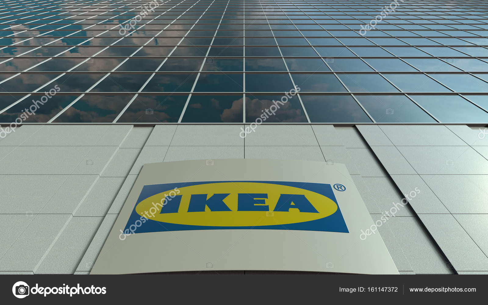 Conseil de signalisation avec logo ikea façade de l édifice de