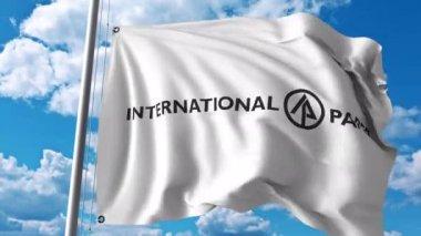 Waving flag with International Paper logo. 4K editorial animation