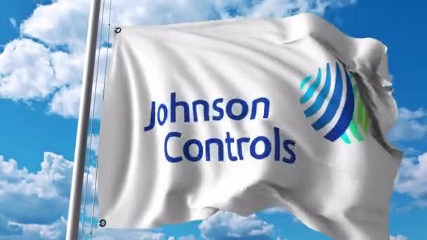 Waving flag with Johnson Controls logo  4K editorial animation