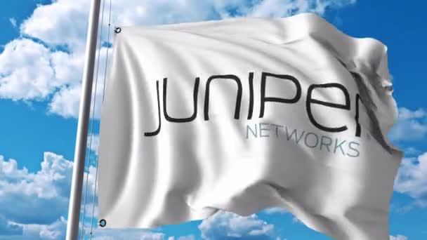 Waving flag with Juniper Networks logo  4K editorial animation