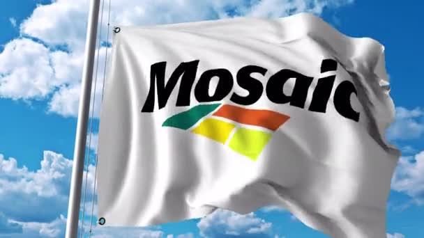 Vlající vlajka s logem společnosti Mosaic. 4 k redakční animace