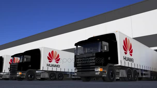 Freight Semi Trucks With Huawei Logo Loading Or Unloading At