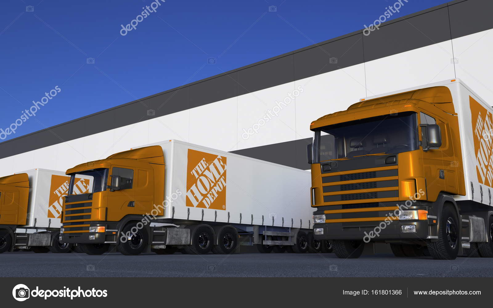 Freight semi trucks with The Home Depot logo loading or