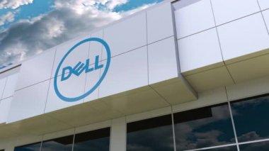 Dell Inc. logo on the modern building facade. Editorial 3D rendering