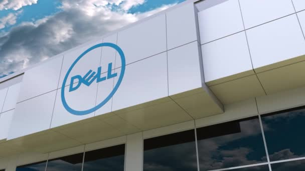 Dell Inc. logo on the modern building facade. Editorial 3D rendering