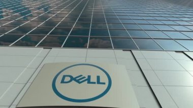 Signage board with Dell Inc. logo. Modern office building facade time lapse. Editorial 3D rendering