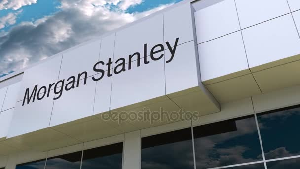 Morgan Stanley Inc  logo on the modern building facade  Editorial 3D  rendering