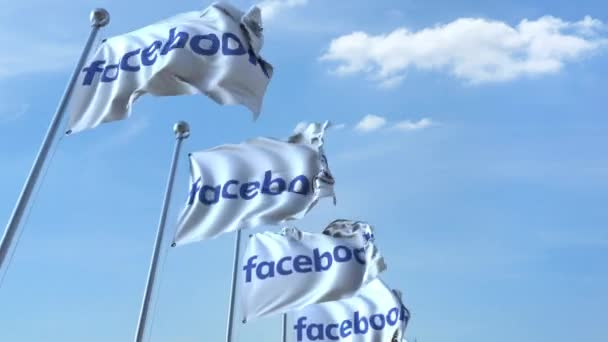 Waving flags with Facebook logo against sky, seamless loop. 4K editorial animation