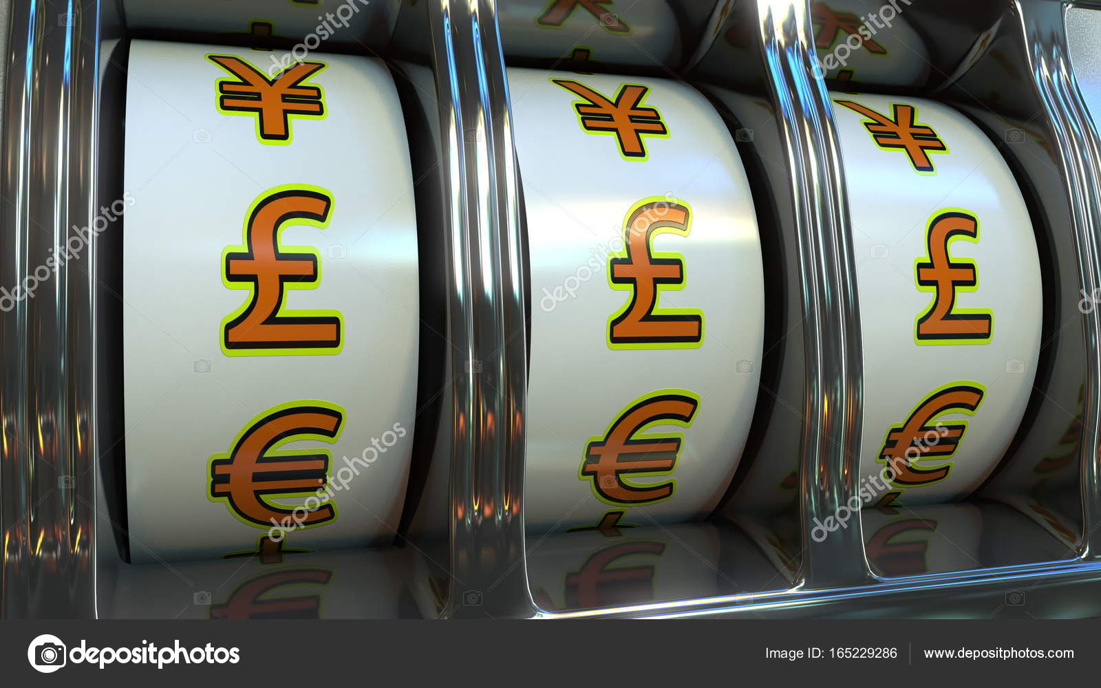 Slot Machine With Pound Sterling Currency Symbols Forex Fortune Or