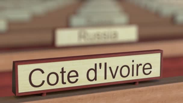 Cote dIvoire name sign among different countries plaques at international organization