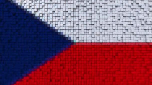 Stylizované mozaika vlajky České republiky z pohyblivé pixelů, bezešvé smyčka pohybu pozadí