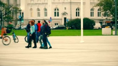 WARSAW, POLAND - SEPTEMBER 14, 2017. Polish teenagers walk on the street