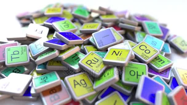 Zinc Zn block on the pile of periodic table of the chemical elements ...