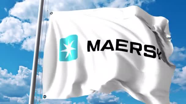 Waving flag with Maersk logo against clouds and sky  4K editorial animation
