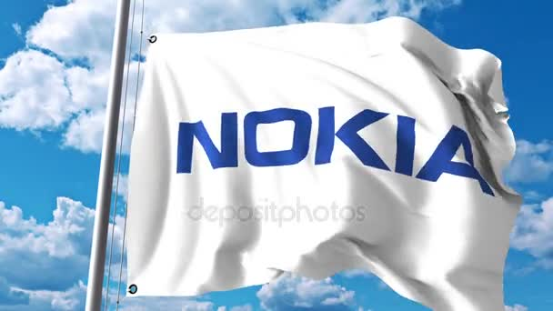 Waving Flag With Nokia Logo Against Clouds And Sky 4K Editorial Animation Stock Video