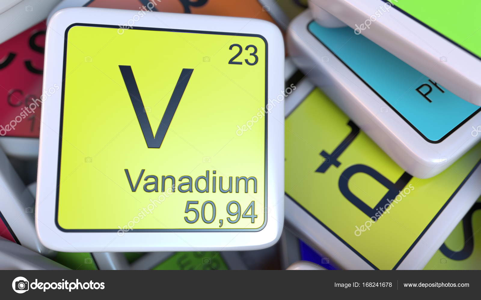 Vanadium block on the pile of periodic table of the chemical vanadium block on the pile of periodic table of the chemical elements blocks chemistry related urtaz Choice Image