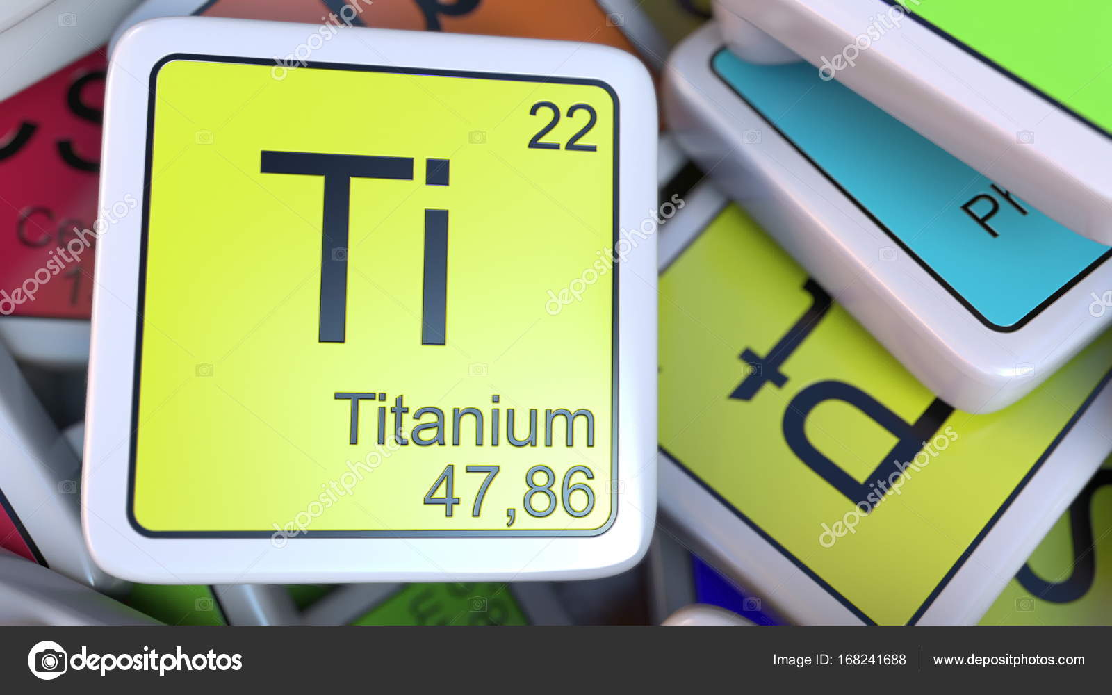 Titanium Block On The Pile Of Periodic Table Of The Chemical