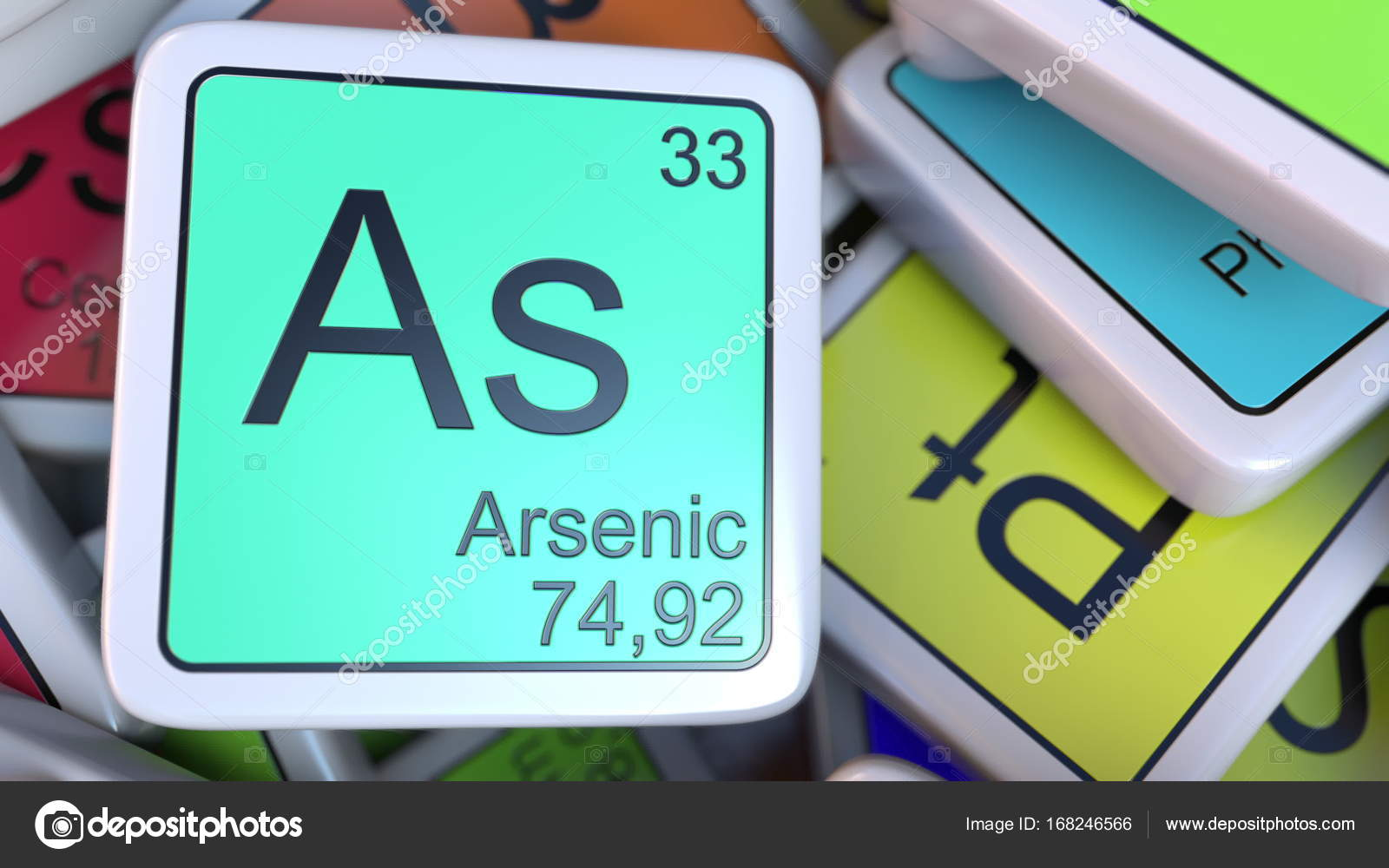 Arsenic As Block On The Pile Of Periodic Table Of The Chemical