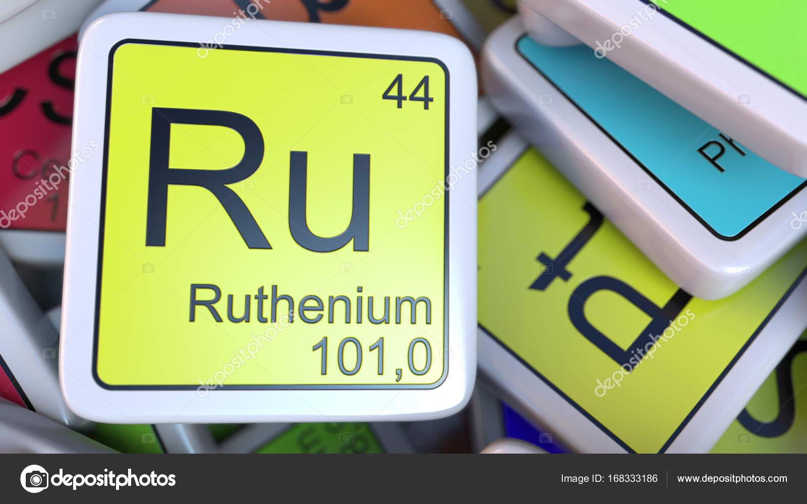 Bloque de ru rutenio en la pila de la tabla peridica de los bloques rutenio de la etiqueta de la pila de la tabla peridica de las etiquetas de elementos qumicos foto de alexeynovikov urtaz Gallery