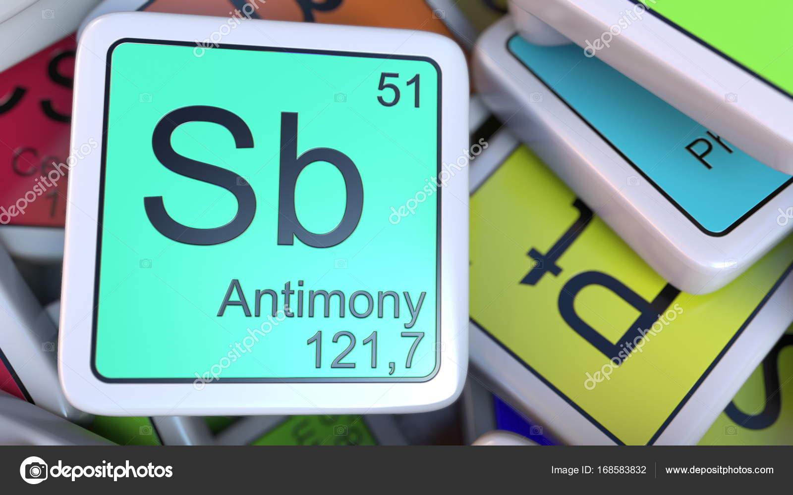 Bloque de sb antimonio en la pila de la tabla peridica de los antimonio de la etiqueta de la pila de la tabla peridica de las etiquetas de elementos qumicos foto de alexeynovikov urtaz Gallery
