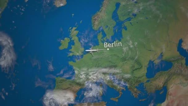 Route Der Kommerziellen Flugzeug Von Berlin Nach New York Fliegen