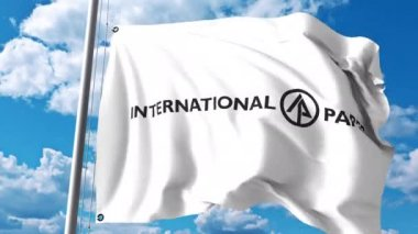 Waving flag with International Paper Company logo against clouds and sky. 4K editorial animation