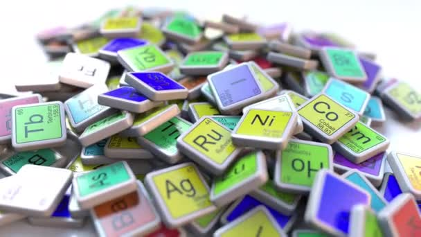 Curium Cm block on the pile of periodic table of the chemical elements  blocks