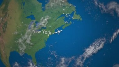 World map travel tour flying airplane illustration animation route of commercial airplane flying from new york to berlin on the earth globe international gumiabroncs Choice Image