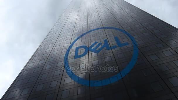 Dell Inc. logo on a skyscraper facade reflecting clouds, time lapse. Editorial 3D rendering