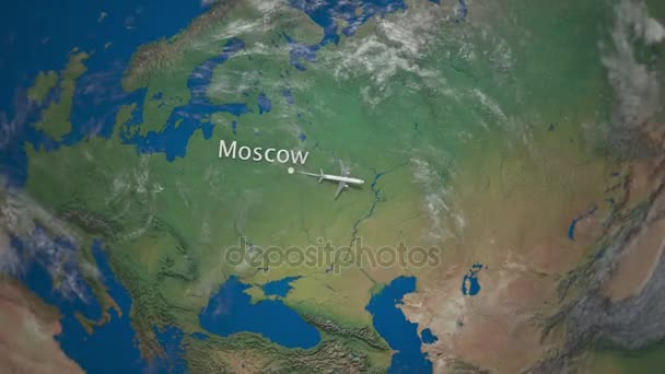 Route of commercial airplane flying from Moscow to Beijing the Earth globe   International trip intro animation