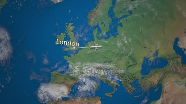 Route of commercial airplane flying from London to Beijing the Earth globe   International trip intro animation