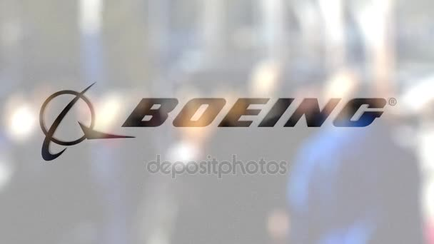 Logo společnosti Boeing na sklo proti rozmazané dav na steet. Úvodník 3d vykreslování