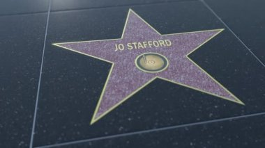 Hollywood Walk of Fame star with JO STAFFORD inscription. Editorial clip