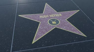 Hollywood Walk of Fame star with HUGH HEFNER inscription. Editorial clip