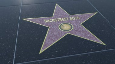 Hollywood Walk of Fame star with BACKSTREET BOYS inscription. Editorial 3D rendering