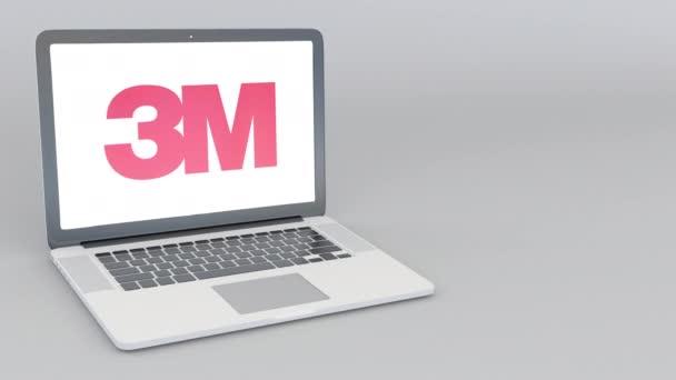 Otevírání a zavírání notebooku s logem společnosti 3m. 4 k redakční animace