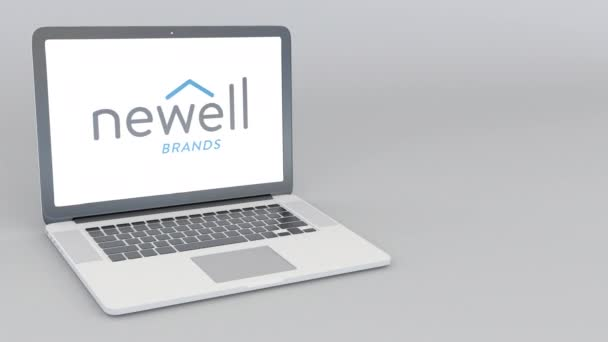 Opening and closing laptop with Newell Brands logo. 4K editorial animation