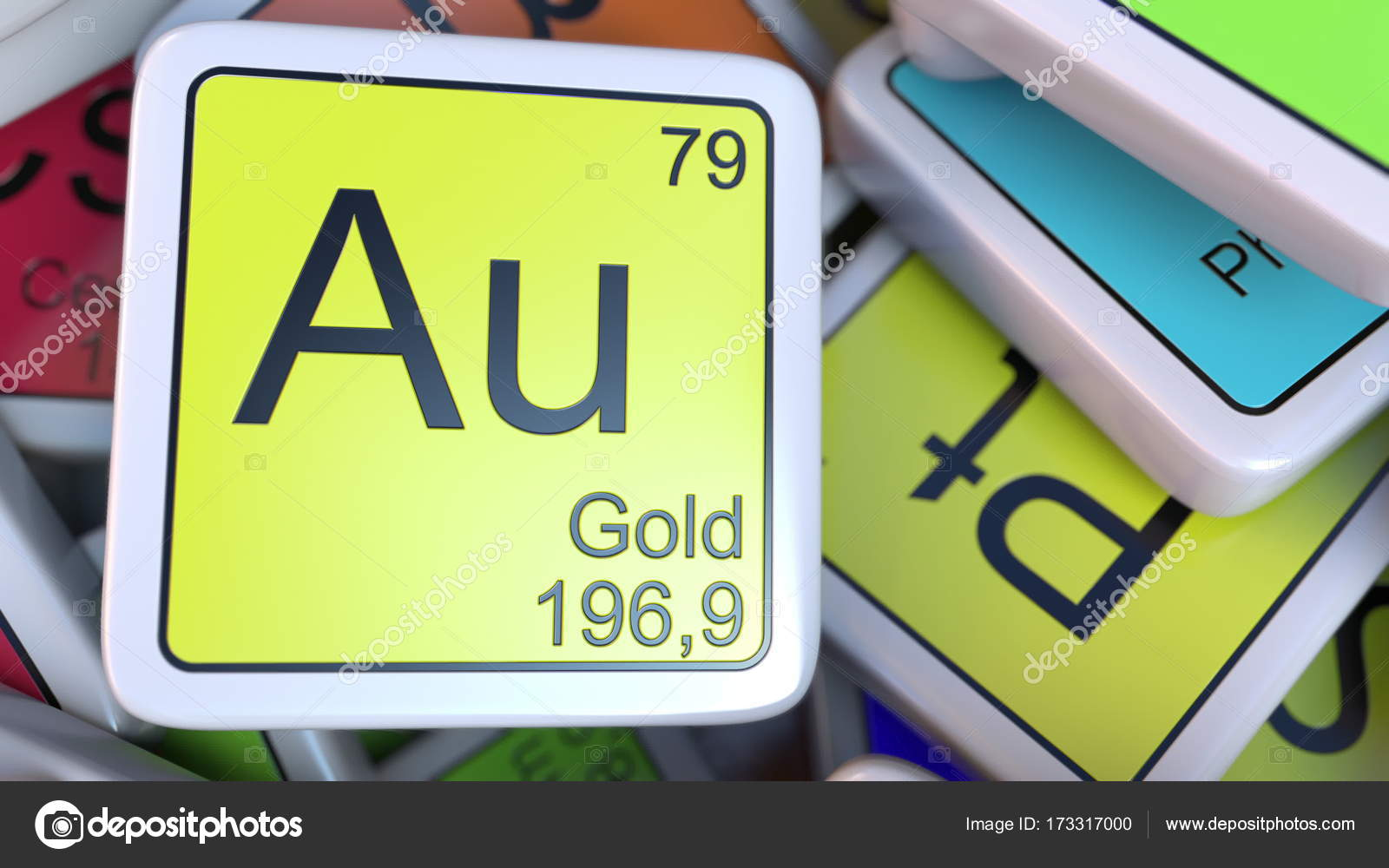 Gold au block on the pile of periodic table of the chemical elements gold au block on the pile of periodic table of the chemical elements blocks 3d urtaz Gallery