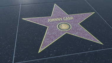 Hollywood Walk of Fame star with JOHNNY CASH inscription. Editorial 3D rendering