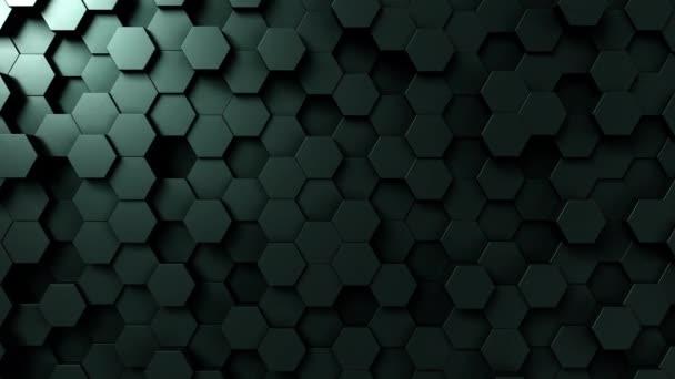 Tmavě zelená šestihranný pohybu pozadí, bezešvé smyčka