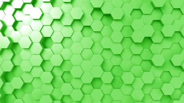 Abstraktní zelené šestiúhelníky animace, bezešvé smyčka