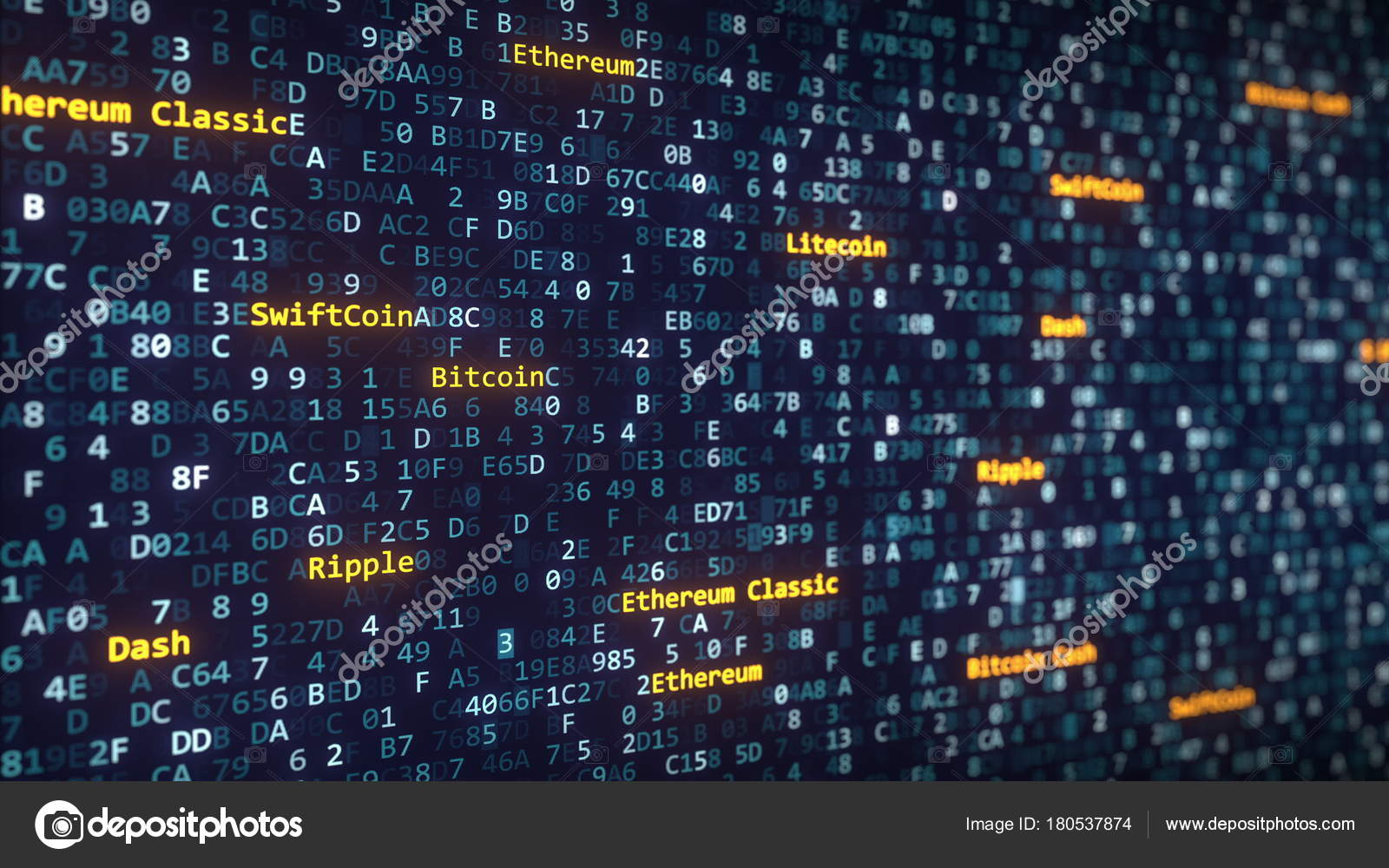 Different cryptocurrency names captions appearing among changing different cryptocurrency names captions appearing among changing hexadecimal symbols on a computer screen 3d rendering biocorpaavc Choice Image