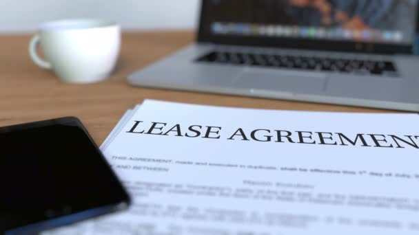 Copy of lease agreement on the desk