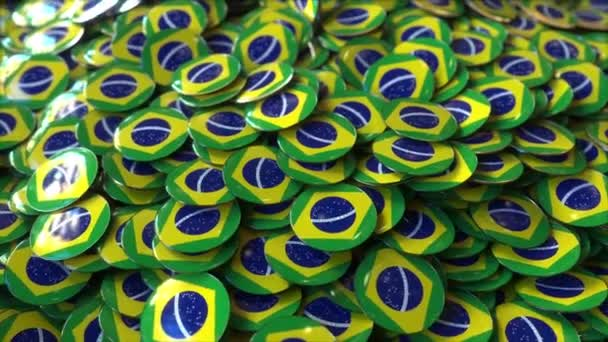 Pile of badges featuring flags of Brazil
