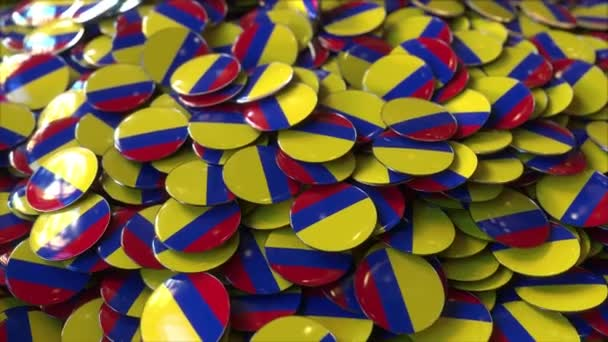 Pile of badges featuring flags of Colombia
