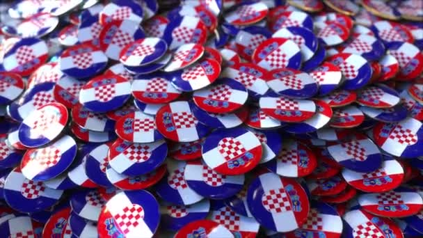 Pile of badges featuring flags of Croatia