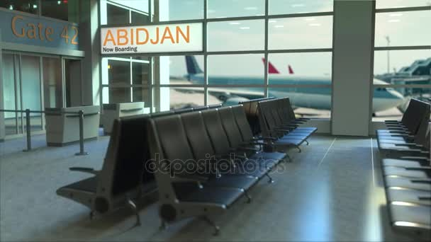 Abidjan flight boarding now in the airport terminal. Travelling to Ivory Coast conceptual intro animation, 3D rendering